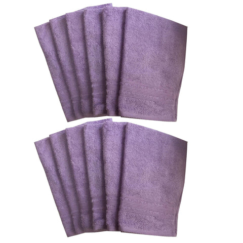 Lushomes Light Purple Super Soft and Fluffy Cotton Hand Towel Set (Size: 40 x 60 cms, Pack of 12, 450 GSM) - Lushomes
