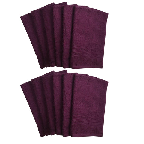 Lushomes Dark Purple Super Soft and Fluffy Cotton Hand Towel Set (Size: 40 x 60 cms, Pack of 12, 450 GSM) - Lushomes