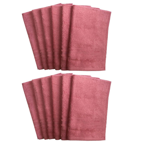Lushomes Peony Pink Super Soft and Fluffy Cotton Hand Towel Set (Size: 40 x 60 cms, Pack of 12, 450 GSM) - Lushomes