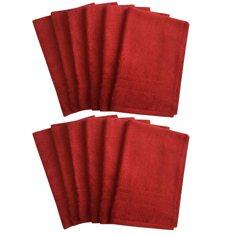 Lushomes Hibiscus Red Super Soft and Fluffy Cotton Hand Towel Set (Size: 40 x 60 cms, Pack of 12, 450 GSM) - Lushomes