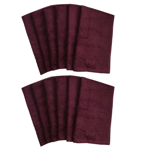 Lushomes Red Plum Super Soft and Fluffy Cotton Hand Towel Set (Size: 40 x 60 cms, Pack of 12, 450 GSM) - Lushomes