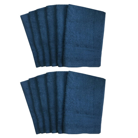 Lushomes Ink Blue Super Soft and Fluffy Cotton Hand Towel Set (Size: 40 x 60 cms, Pack of 12, 450 GSM) - Lushomes
