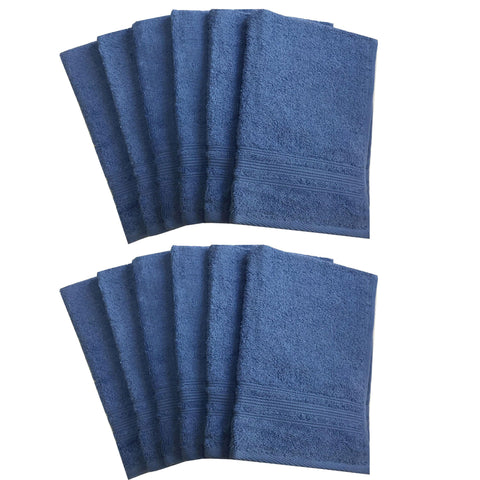 Lushomes Riveria Blue Super Soft and Fluffy Cotton Hand Towel Set (Size: 40 x 60 cms, Pack of 12, 450 GSM) - Lushomes