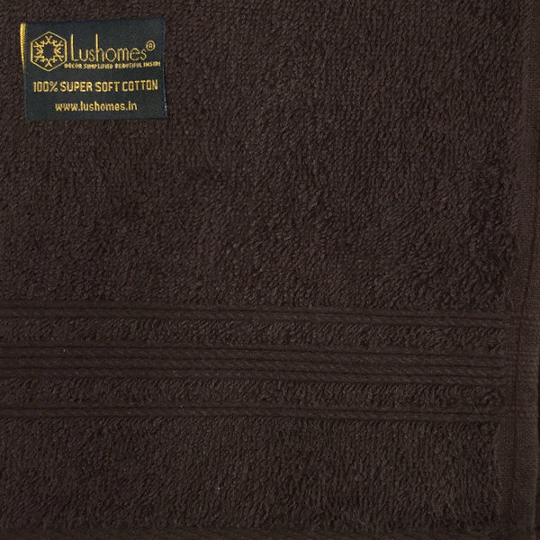 Lushomes Chocolate Brown Super Soft and Fluffy Cotton Hand Towel Set (Size: 40 x 60 cms, Pack of 12, 450 GSM) - Lushomes