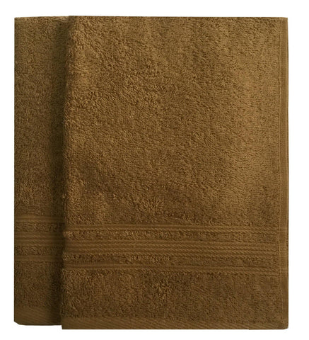 Lushomes Olive Brown Super Soft and Fluffy Cotton Hand Towel Set (Size: 40 x 60 cms, Pack of 2, 450 GSM) - Lushomes