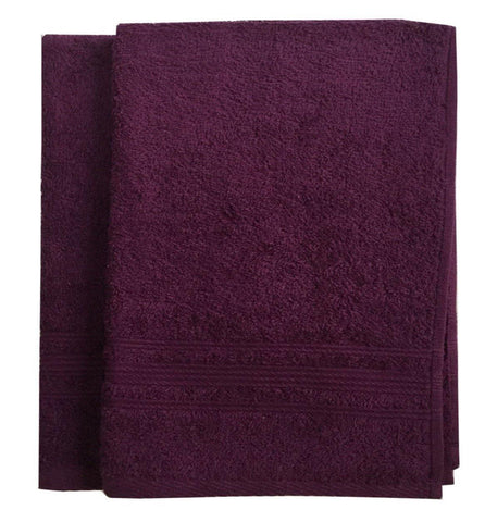 Lushomes Dark Purple Super Soft and Fluffy Cotton Hand Towel Set (Size: 40 x 60 cms, Pack of 2, 450 GSM) - Lushomes