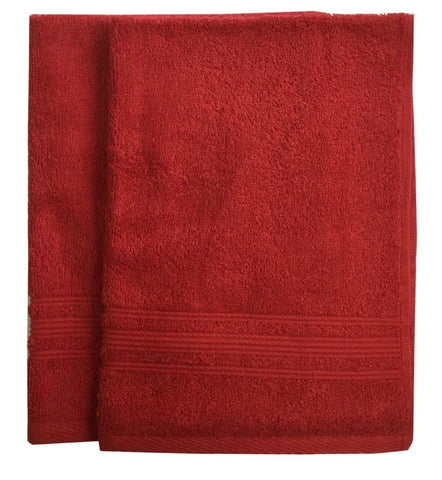 Lushomes Hibiscus Red Super Soft and Fluffy Cotton Hand Towel Set (Size: 40 x 60 cms, Pack of 2, 450 GSM) - Lushomes