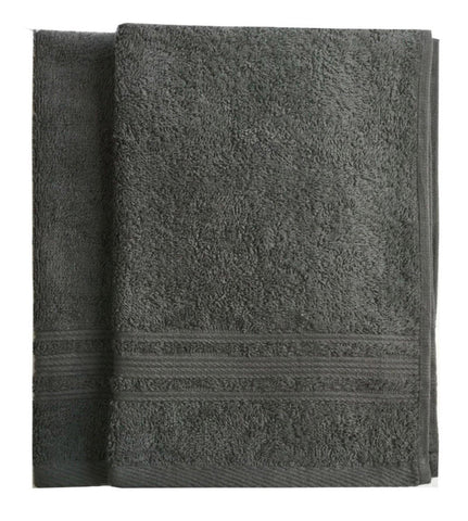 Lushomes Sedona Sage Grey Super Soft and Fluffy Cotton Hand Towel Set (Size: 40 x 60 cms, Pack of 2, 450 GSM) - Lushomes