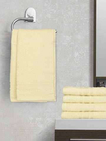 Lushomes Cream Super Soft and Fluffy Cotton Hand Towel Set (Size 40 x 60 cms, Pack of 6, 450 GSM) - Lushomes