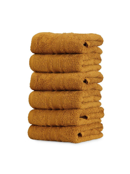 Lushomes Olive Brown Super Soft and Fluffy Cotton Hand Towel Set (Size 40 x 60 cms, Pack of 6, 450 GSM) - Lushomes