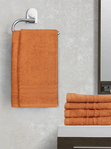 Lushomes Light Brown Super Soft and Fluffy Cotton Hand Towel Set (Size 40 x 60 cms, Pack of 6, 450 GSM) - Lushomes