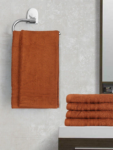 Lushomes Brown Super Soft and Fluffy Cotton Hand Towel Set (Size 40 x 60 cms, Pack of 6, 450 GSM) - Lushomes