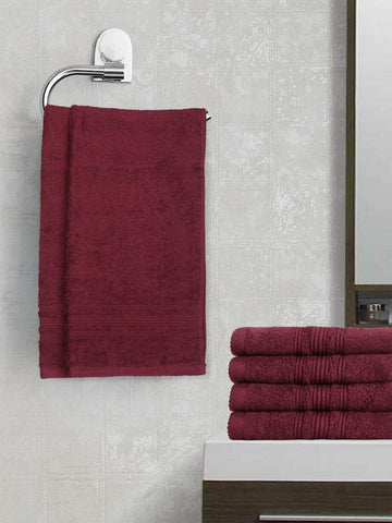 Lushomes Dark Purple Super Soft and Fluffy Cotton Hand Towel Set (Size 40 x 60 cms, Pack of 6, 450 GSM) - Lushomes