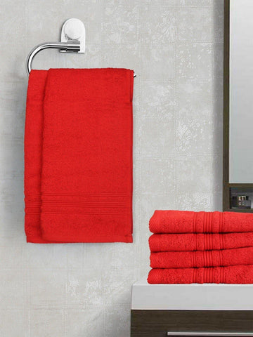 Lushomes Hibiscus Red Super Soft and Fluffy Cotton Hand Towel Set (Size 40 x 60 cms, Pack of 6, 450 GSM) - Lushomes