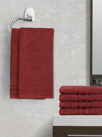 Lushomes Red Plum Super Soft and Fluffy Cotton Hand Towel Set (Size 40 x 60 cms, Pack of 6 Pcs, 450 GSM) - Lushomes