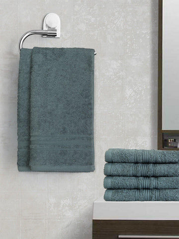 Lushomes Ink Blue Super Soft and Fluffy Cotton Hand Towel Set (Size 40 x 60 cms, Pack of 6, 450 GSM) - Lushomes