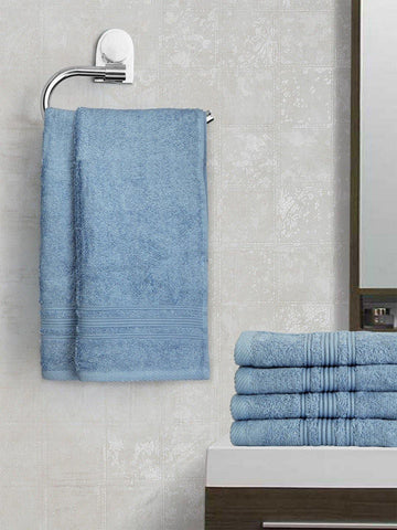 Lushomes Sky Blue Super Soft and Fluffy Cotton Hand Towel Set (Size 40 x 60 cms, Pack of 6 Pcs, 450 GSM) - Lushomes