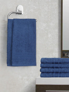 Lushomes Nautical Blue Super Soft and Fluffy Cotton Hand Towel Set (Size 40 x 60 cms, Pack of 6 Pcs, 450 GSM) - Lushomes