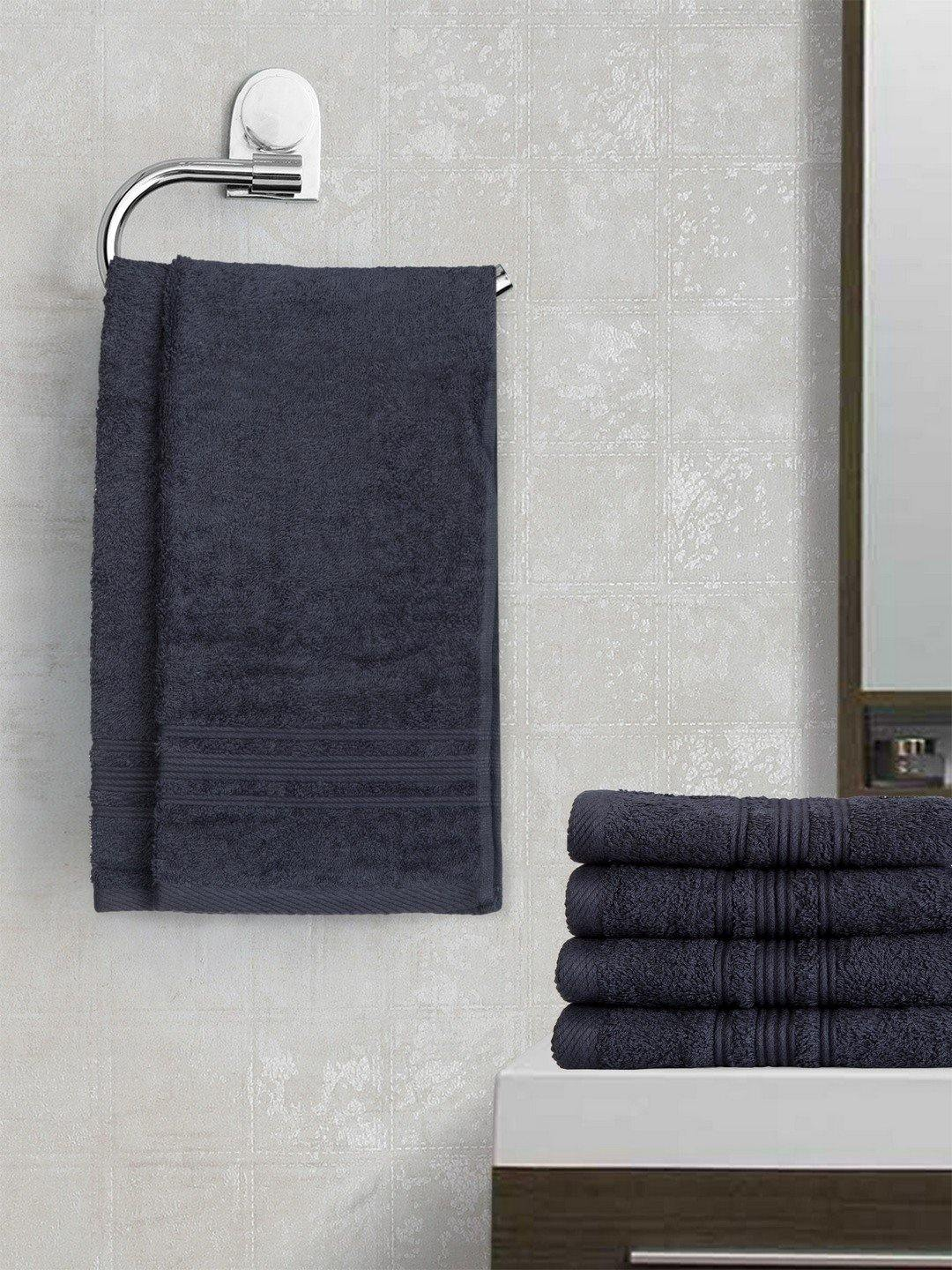 "Lushomes Navy Super Soft and Fluffy Cotton Hand Towel Set (Size 40 x 60 cms"", Pack of 6 Pcs, 450 GSM) - Lushomes"