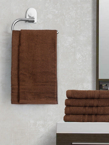 Lushomes Chocolate Brown Super Soft and Fluffy Cotton Hand Towel Set (Size 40 x 60 cms, Pack of 6 Pcs, 450 GSM) - Lushomes