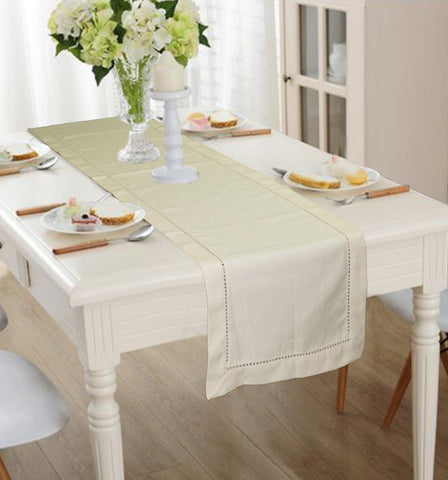 Lushomes Beige Premium Cotton Table Runner with Ladder Lace (Size 40 x 180 cms, Single Pc) - Lushomes