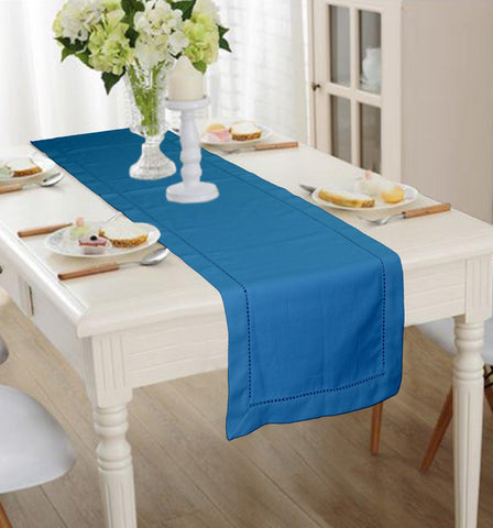 Lushomes Aqua Premium Cotton Table Runner with Ladder Lace (Size 40 x 180 cms, Single Pc) - Lushomes