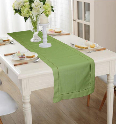 Lushomes Dark Green Premium Cotton Table Runner with Ladder Lace (Size 40 x 180 cms, Single Pc) - Lushomes