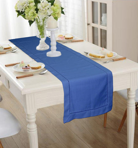 Lushomes Blue Premium Cotton Table Runner with Ladder Lace (Size 40 x 180 cms, Single Pc) - Lushomes