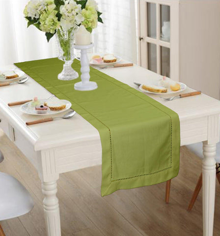 Lushomes Light Green Premium Cotton Table Runner with Ladder Lace (Size 40 x 180 cms, Single Pc) - Lushomes