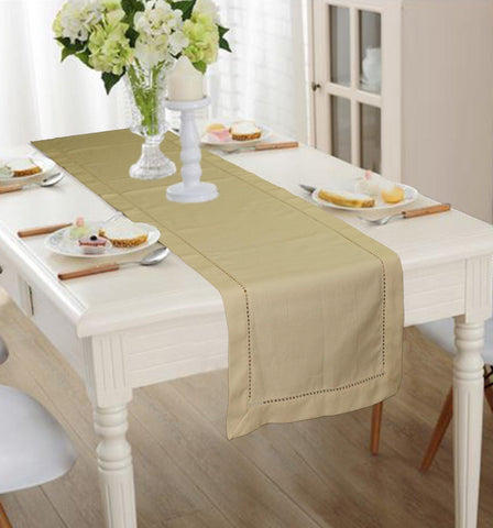 Lushomes Taupe Premium Cotton Table Runner with Ladder Lace (Size 40 x 180 cms, Single Pc) - Lushomes