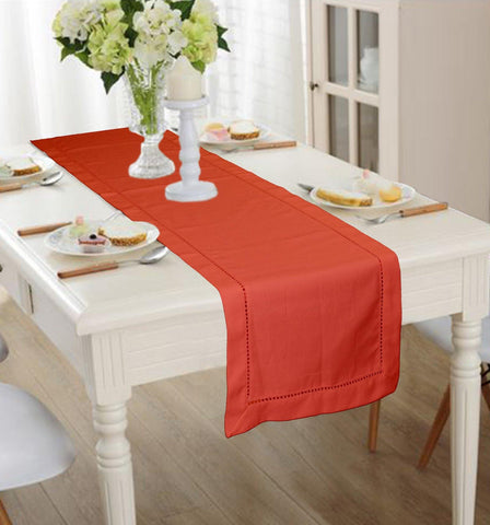 Lushomes Light Red Premium Cotton Table Runner with Ladder Lace (Size 40 x 180 cms, Single Pc) - Lushomes