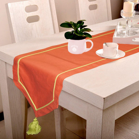 Lushomes Maroon Table Runner with Green contrasting cord piping - Lushomes