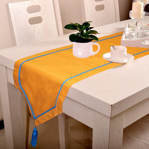 Lushomes Orange Table Runner with Blue contrasting cord piping - Lushomes