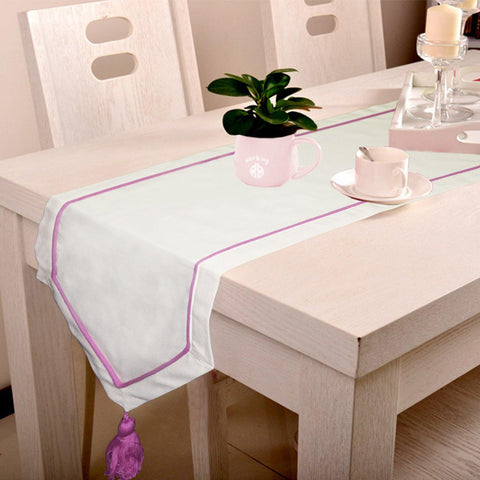 Lushomes Off-White Table Runner with Magenta contrasting cord piping - Lushomes