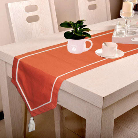 Lushomes Maroon Table Runner with Off-White contrasting cord piping - Lushomes