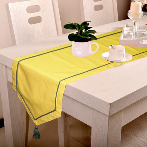 Lushomes Yellow Table Runner with Green contrasting cord piping - Lushomes