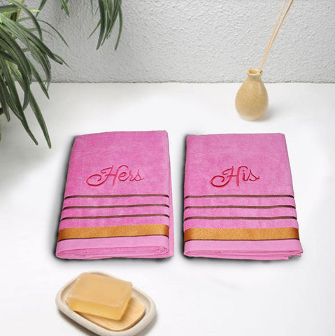 Lushomes Light Pink His and Her Embroidered Cotton bath Towel Set, (70 x 140 cms, Pack of 2 Pcs) - Lushomes