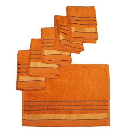 Lushomes Copper Velvet Cotton Hand Towel Set (40 x 60 cms, 6 pcs) - Lushomes