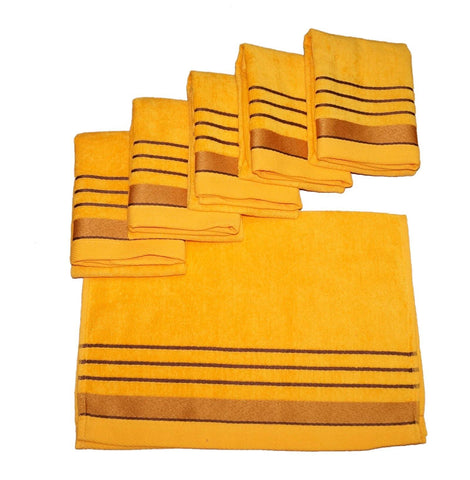Lushomes Gold Velvet Cotton Hand Towel Set (40 x 60 cms, 6 pcs) - Lushomes
