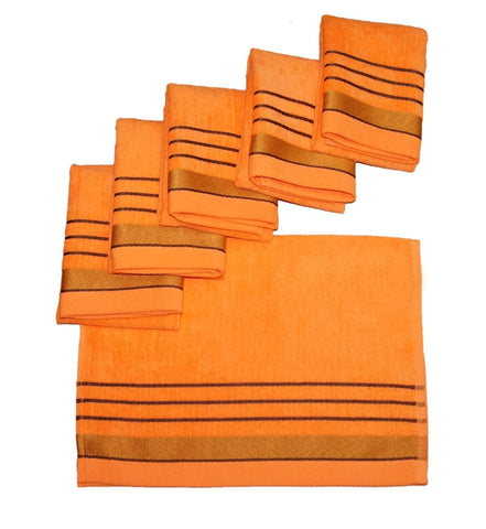 Lushomes Peach Velvet Cotton Hand Towel Set (40 x 60 cms, 6 pcs) - Lushomes