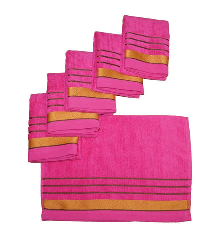 Lushomes Dark Pink Velvet Cotton Hand Towel Set (40 x 60 cms, 6 pcs) - Lushomes