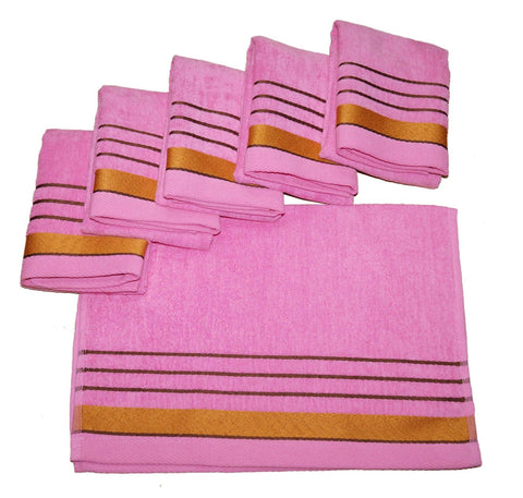 Lushomes Light Pink Velvet Cotton Hand Towel Set (40 x 60 cms, Pack of 6 pcs) - Lushomes