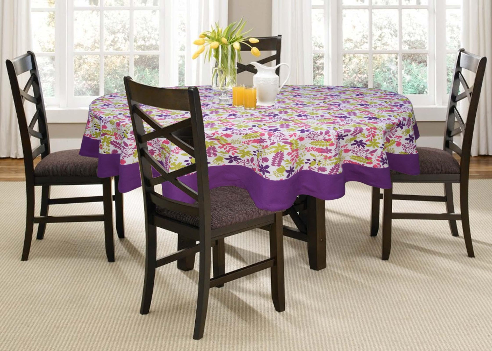 Lushomes 6 Seater Purple Printed Round Table Cloth - Lushomes