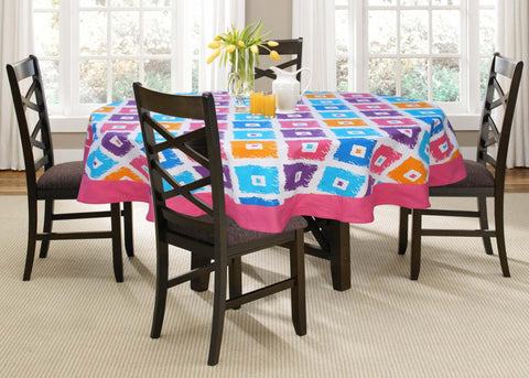 Lushomes 6 Seater Square Printed Round Table Cloth - Lushomes