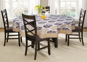 Lushomes 6 Seater Earth Printed Round Table Cloth - Lushomes
