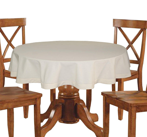 Lushomes Plain Ecru Round Table Cloth - 4 seater - Lushomes