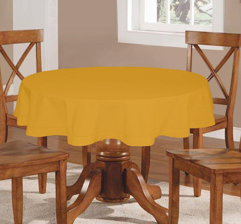 Lushomes Plain Lemon Chrome Round Table Cloth - 4 seater - Lushomes