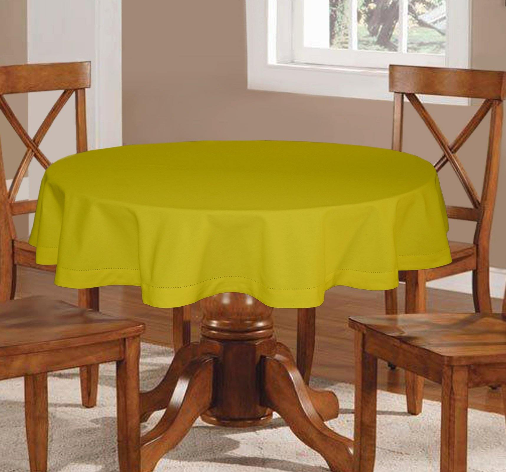 Lushomes Plain Palm Round Table Cloth - 4 seater - Lushomes