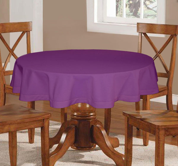 Lushomes Plain Royal Lilac Round Table Cloth - 4 seater - Lushomes