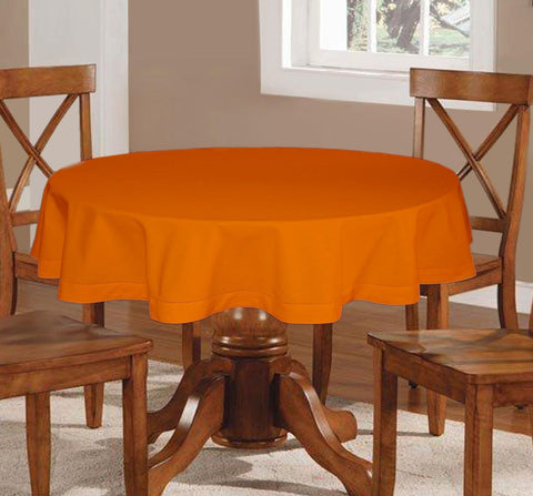 Lushomes Plain Sun Orange Round Table Cloth - 4 seater - Lushomes